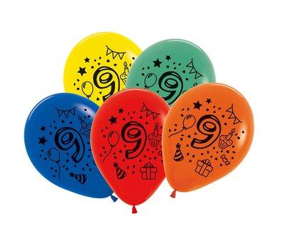 Latex cijfer ballonnen NR 9 gemengde kleuren 30cm groot