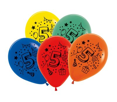 Latex cijfer ballonnen NR 5 gemengde kleuren 30cm groot