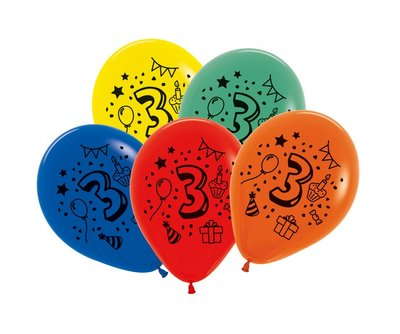 Latex cijfer ballonnen NR 3 gemengde kleuren 30cm groot