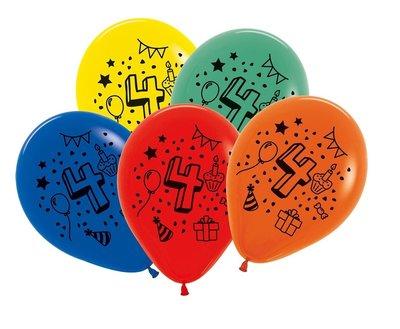Latex cijfer ballonnen NR 4 gemengde kleuren 30cm groot