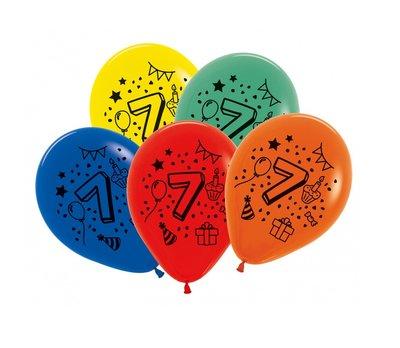 Latex cijfer ballonnen NR 7 gemengde kleuren 30cm groot