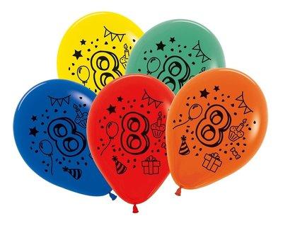 Latex cijfer ballonnen NR 8 gemengde kleuren 30cm groot