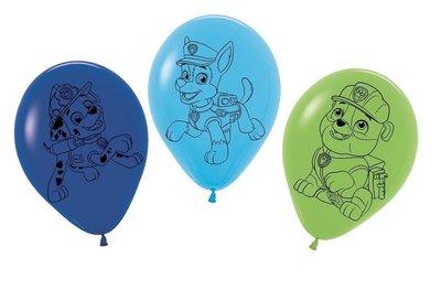 Paw Patrol feest ballonnen 30cm Chase, Rubble en Marshall