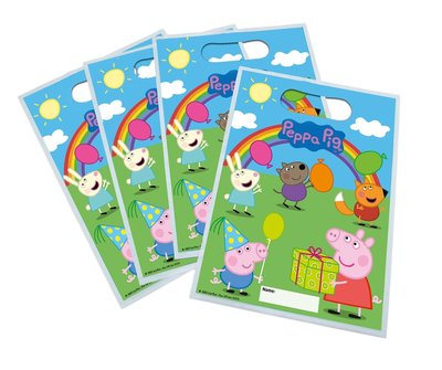 Peppa Pig uitdeelzakjes regenboog 2-zijdig bedrukt