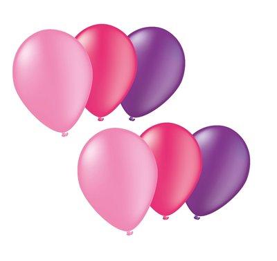 Ballonnen 30 centimeter roze & paars gemengd