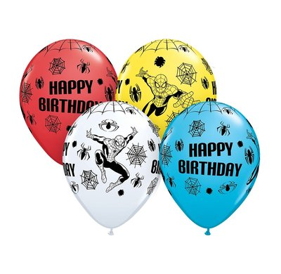Spiderman feest ballonnen Happy Birthday zak van 25 stuks