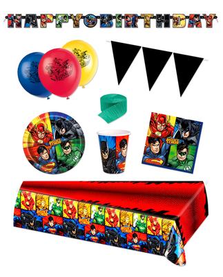 Justice League feestpakket Deluxe - voordeelpakket 8 personen