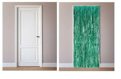 Deur decoratie slinger groen metalic
