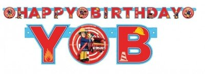 Brandweerman Sam HAPPY BIRTHDAY feestslinger