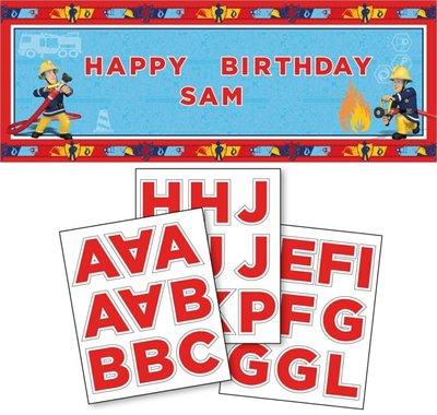 Brandweerman Sam persoonlijke verjaardags banner met naam