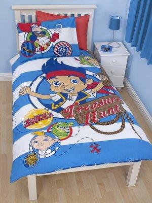 Disney Jake en de nooitgedachtland piraten dekbedovertrek blauw