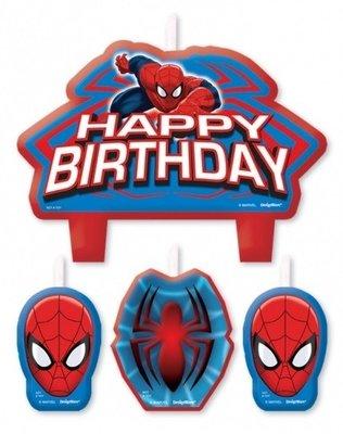 Spiderman verjaardagstaart kaarsen