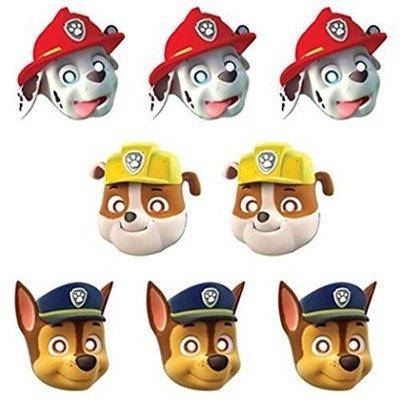 Paw Patrol masker 8 stuks Marshall, Chase en Rubble