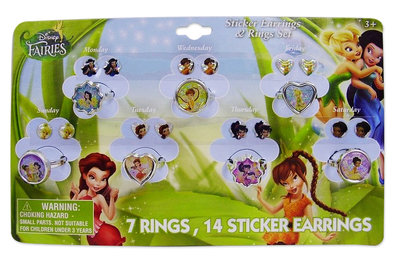 Disney Tinkerbell 14 delig ring en oorsticker set