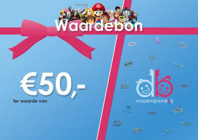Maakmijnkindblij Waardebon - €50,00