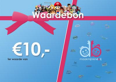 Maakmijnkindblij Waardebon - €10,00
