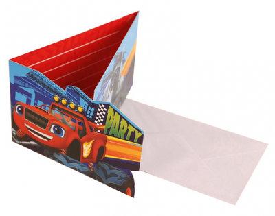 Blaze en de Monsterwielen uitnodigingen met envelop