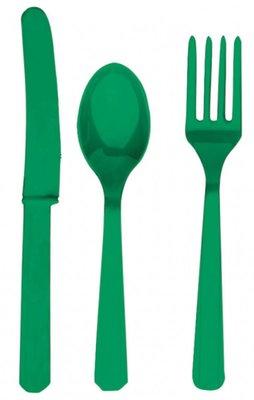 Plastic bestek unikleur groen