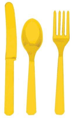 Plastic bestek unikleur geel