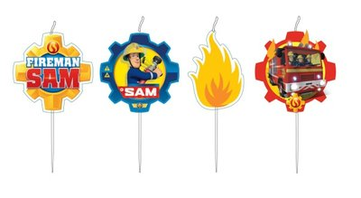 Brandweerman Sam taart kaarsjes flame
