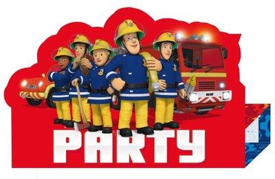Brandweerman Sam uitnodigingen kinderfeest
