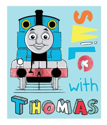 Thomas de Trein fleece deken Smile