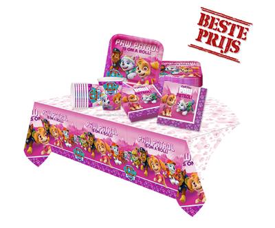 Roze Paw Patrol feestpakket - voordeelpakket 8 personen