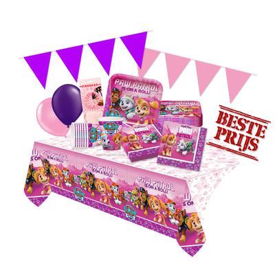 Roze Paw Patrol feestpakket Deluxe - pakket voor 8 personen