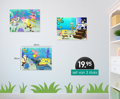 Spongebob 3-delig canvas set 40x30cm
