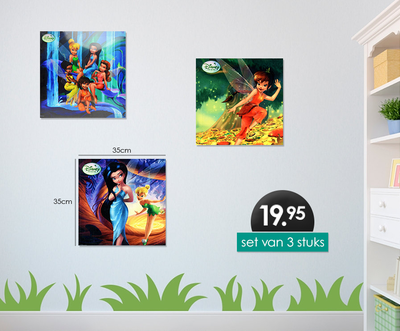 Disney Tinkerbell 3-delig canvas set 35x35cm