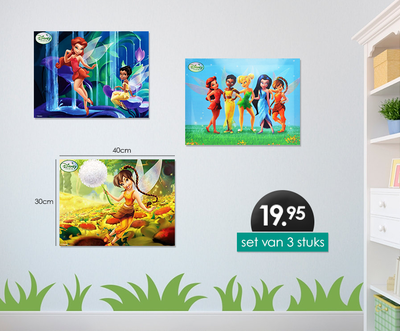 Disney Tinkerbell 3-delig canvas set 40x30cm