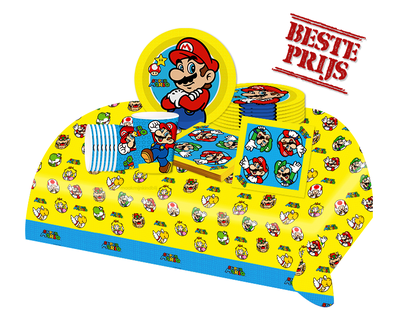 Super Mario feestpakket - voordeelpakket 8 personen Luigi