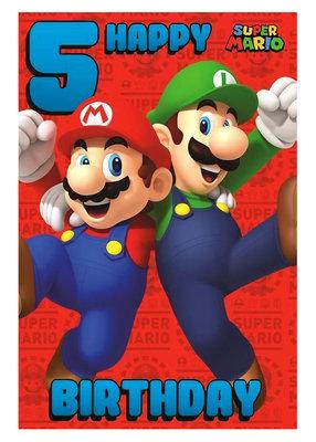 Super Mario verjaardagskaart 5 jaar