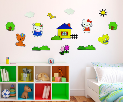 Hello Kitty 14-delig foam wanddecoratie set