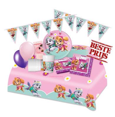 Roze Paw Patrol feestpakket Deluxe - pakket voor 8 personen II