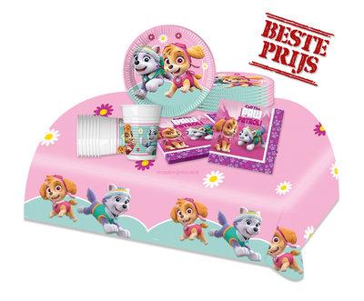 Roze Paw Patrol feestpakket - voordeelpakket 8 personen II