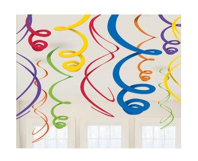 Plafond decoratie slingers gemengde kleuren