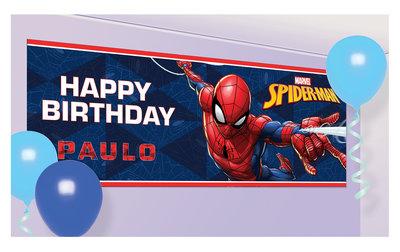 Spiderman persoonlijke verjaardag banner met naam