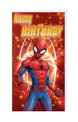 Spiderman verjaardagskaart met envelop