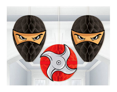 Ninja honeycomb decoratie 3 delig set
