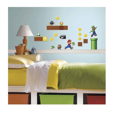 Mario Bros 45 delig wanddecoratie muurstickers set