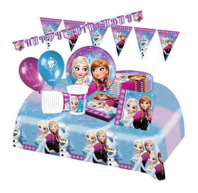 Disney Frozen feestpakket Deluxe Noorderlicht - voordeelpakket 8 personen