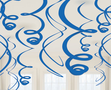 Plafond decoratie slingers blauw