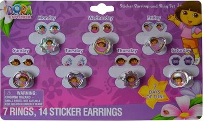 Dora Explorer 14 delig ring en oorsticker set