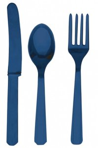 plastic bestek blauw