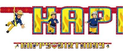 Brandweerman Sam feestslinger HAPPY BIRTHDAY