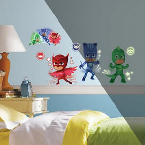 Muurstickers Kinderkamer Spiderman.Pj Masks Muurstickers Pyjamahelden Glow In The Dark