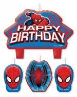 Spiderman verjaardag taart kaarsen